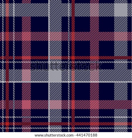 Seamless Checkered Vector Pattern. Chequered Cotton Fabric with Diagonal Hatching. Red, Blue, White Checkers and Stripes. Dark Shirts, Plaids Cotton Fabric. Retro Textile Design Collection. - stock vector