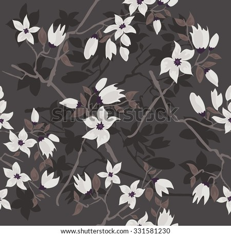 Seamless cherry blossom flowers pattern. Floral background. - stock vector