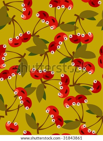 seamless cherry pattern - stock vector