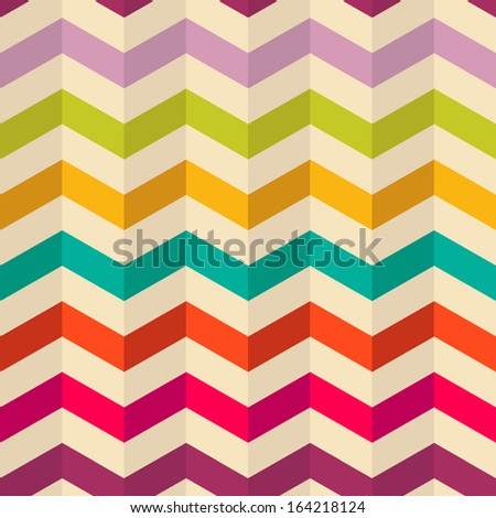 Seamless Chevron Pattern. Fashion zigzag pattern in retro colors, seamless vector background. - stock vector