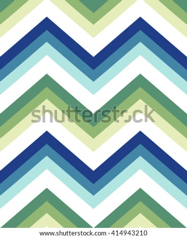 Seamless chevron pattern in blue and green - stock vector