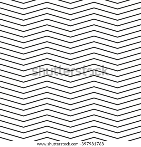 Seamless chevron pattern. Monochrome zig zag pattern. Black seamless wavy line background - stock vector