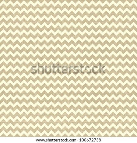 Seamless chevron pattern on linen canvas background. Vintage rustic burlap zigzag - stock vector