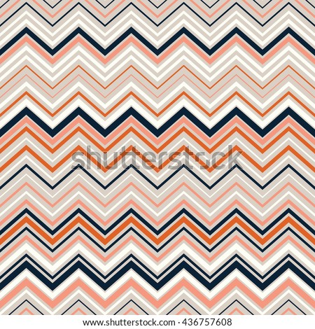 Seamless chevron pattern. Seamless zigzag pattern with orange, blue, pink.Digital print for wallpaper, wrapping paper, fabric, textile, scrap booking, apparel, web design. Boho style.Vector seamless.  - stock vector