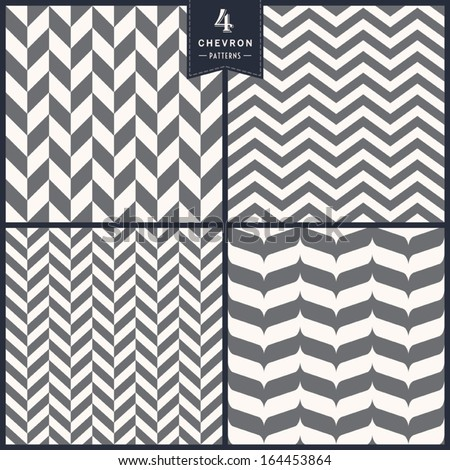 Seamless chevron pattern set - stock vector