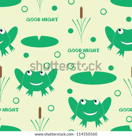 Seamless child pattern with funny frog/Vector
