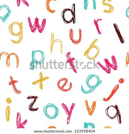 Seamless childish colorful alphabet pattern - stock vector