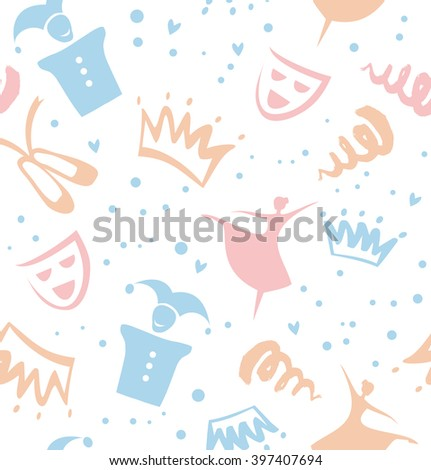 Seamless childish pattern with decorative elements of theater, ballet, fairy-tale. Baby cute background - stock vector