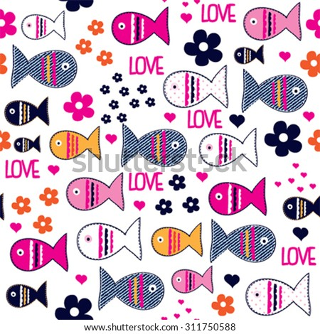 seamless childish pattern with fish vector illustration - stock vector