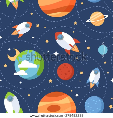 Seamless children cartoon space pattern with rockets, planets, stars and dashed traces over the dark night sky background - stock vector