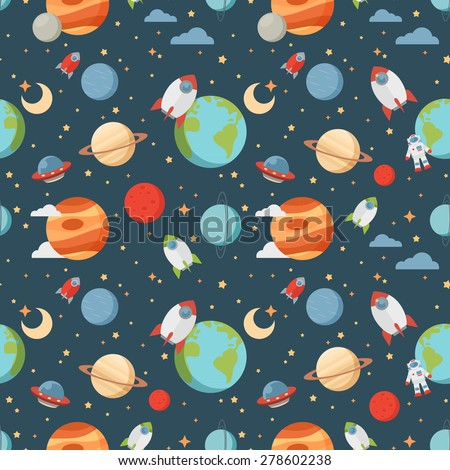 Seamless children cartoon space pattern with rockets, planets, stars and universe over the dark night sky background - stock vector