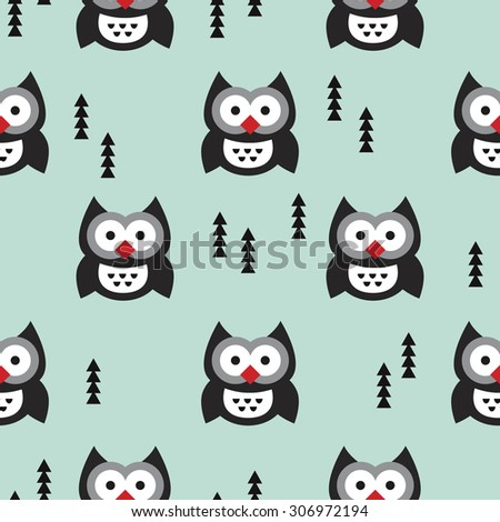 Seamless christmas baby cute owl illustration and christmas tree holidays background pattern in vector - stock vector
