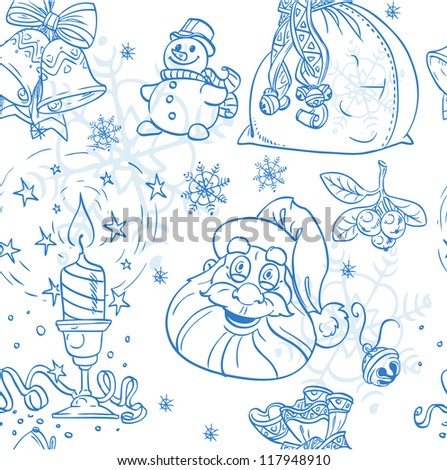 Seamless Christmas background doodles in blue color