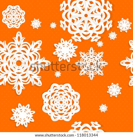 Seamless Christmas background from snow flakes applique on green background - stock vector