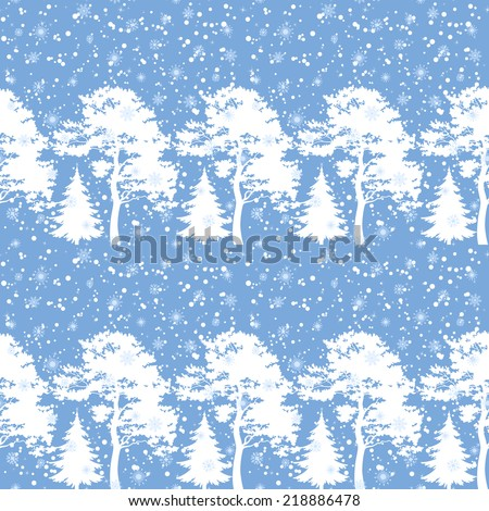 Seamless Christmas background, winter forest with trees silhouettes and snow. Vector - stock vector