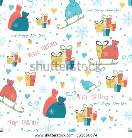 Seamless Christmas background with box of gifts and Santa sledge on white  background. Colorful hand drawn vector illustration made on children doodles. - stock vector