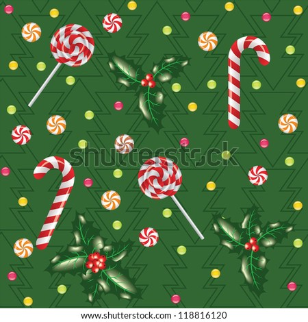 seamless christmas background with candies, lollipops and holly berry with tree pattern - stock vector
