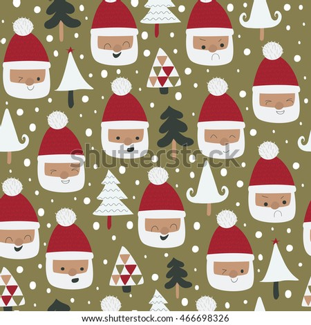 Seamless Christmas Background With Cute Santa Clauses And Trees In Cartoon Style