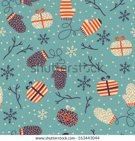 Seamless Christmas background with doodle mittens, gifts, snowflakes and sticks. Christmas vintage pattern. Elements for scrap-booking. Childish background. Hand drawn vector illustration.  - stock vector
