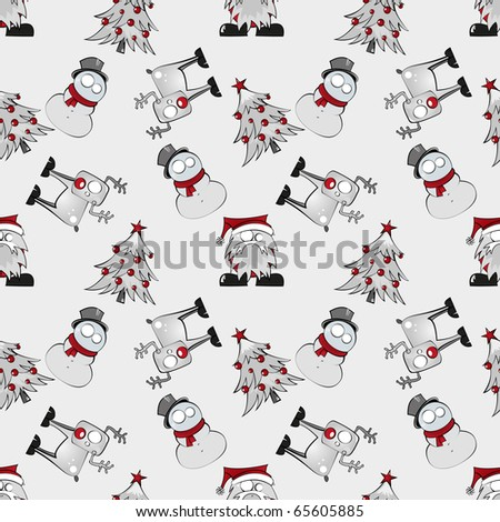 Seamless christmas characters pattern - stock vector