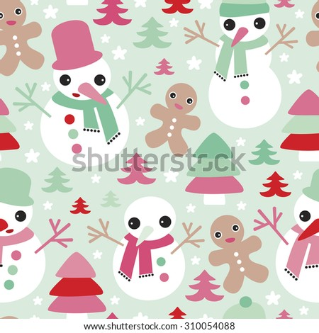 Seamless christmas gingerbread man and snowman christmas tree illustration holiday background pattern in vector - stock vector