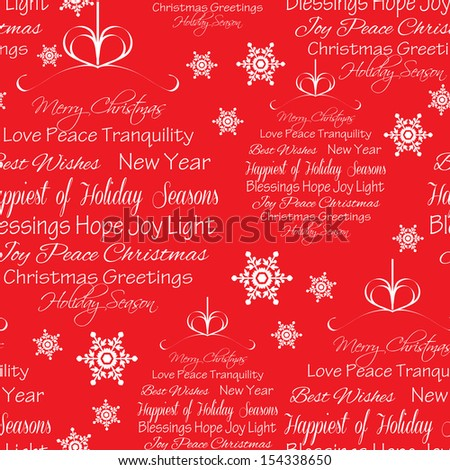 Seamless Christmas Greetings Background - stock vector