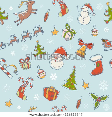 Seamless Christmas hand drawn pattern with fir tree, stocking, candy cane, Santa Clause, deer and snowflakes