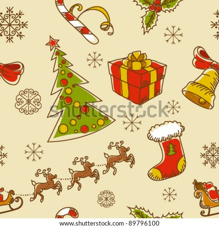 Seamless Christmas hand drawn pattern with sketch fir tree, doodle stocking, candy cane, bell, Santa Clause with deer and snowflakes
