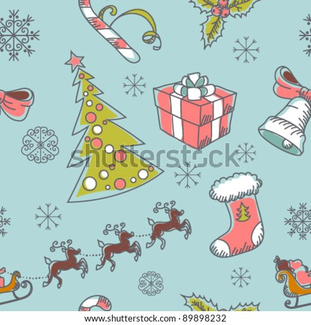 Seamless Christmas hand drawn pattern with sketch fir tree, doodle stocking, candy cane, bell, Santa Clause with deer and snowflakes - stock vector