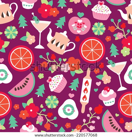 Seamless christmas kitchen and cooking food illustration seasonal bakery background pattern in vector - stock vector