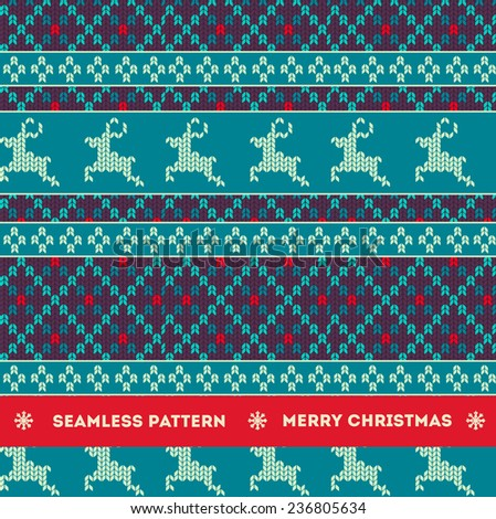 Seamless christmas knitting pattern with deers - stock vector