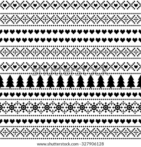Seamless Christmas pattern, card - Scandinavian sweater style. Simple Christmas background - Xmas trees, hearts and snowflakes. Black and white vector design for winter holidays. - stock vector