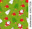 Seamless christmas pattern. Cartoon vector backgrounds. On the green. - stock vector