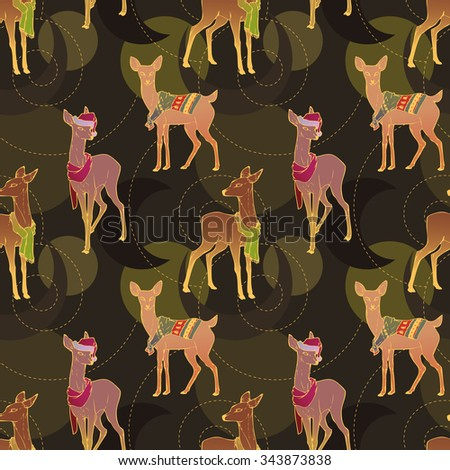 Seamless Christmas pattern. Christmas deer in scarfs, sweaters and Christmas hats. New Year's little fawns. Colorful deer. Deer set. Vector illustration. - stock vector