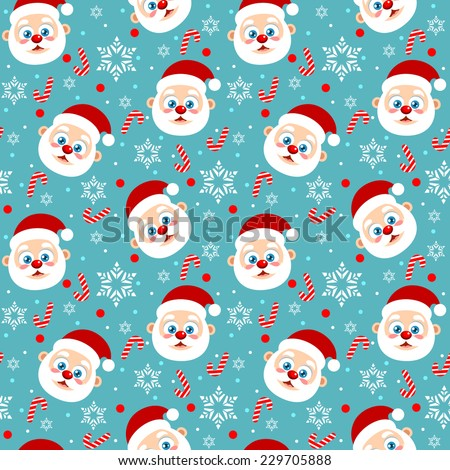 Seamless Christmas pattern cute Santa Clause, candy cane and snowflake - stock vector