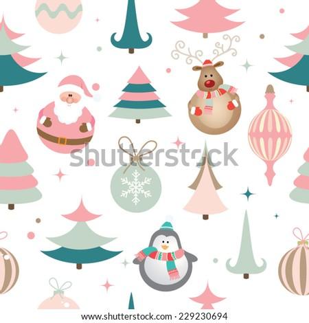 Seamless Christmas pattern. EPS 10 vector illustration - stock vector