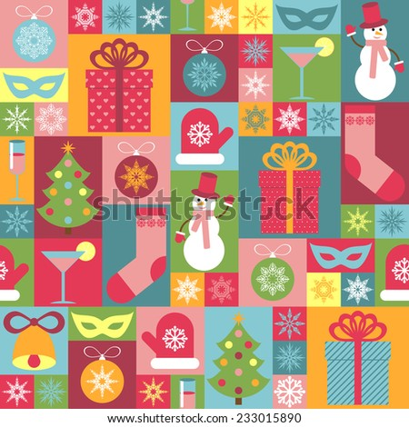 Seamless Christmas pattern. It can be used for decorating of wrapping paper, invitations, cards. - stock vector