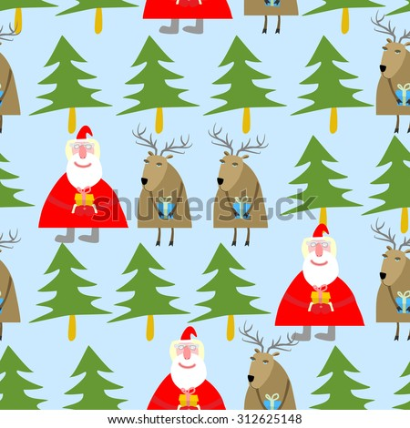 Seamless Christmas pattern. Santa Claus and reindeer with gifts in a winter forest of trees. Holiday background