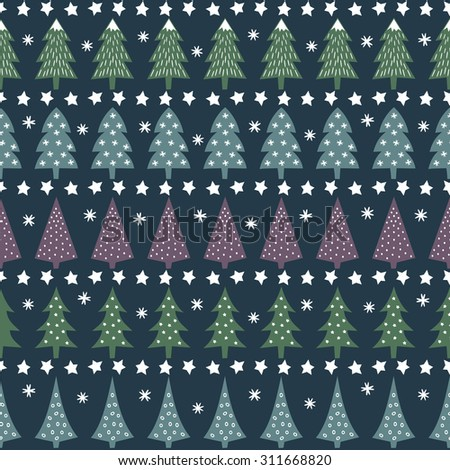 Seamless Christmas pattern - varied Xmas trees, stars and snowflakes. Happy New Year background. Vector design for winter holidays on dark blue background. Child drawing style trees. - stock vector