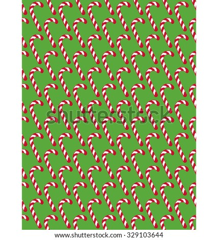 Seamless Christmas Pattern with Candy Cane Stick Isolated on Green Background - stock vector