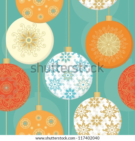 Seamless christmas pattern with christmas decorative  balls - stock vector