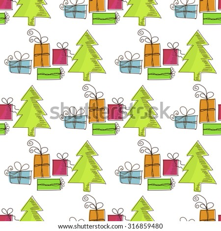 Seamless, Christmas pattern with Christmas trees and gifts - stock vector