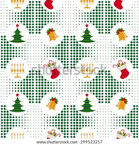 Seamless christmas pattern with Christmas trees, bells, candles and gifts on a halftone  background