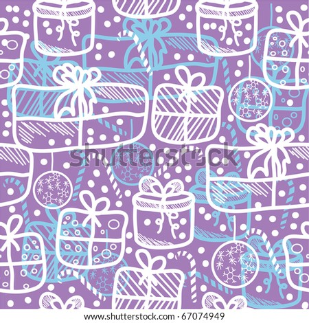 seamless christmas pattern with gifts. background - stock vector