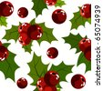 Seamless christmas pattern with holly berry - stock vector