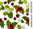 Seamless christmas pattern with holly berry and snowberry - stock photo