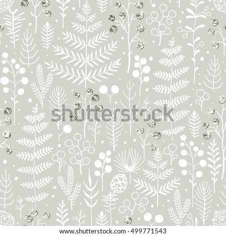 Seamless Christmas pattern with leaves, branches, berries and pine cones. Vector floral illustration with hand-drawn white design element and silver foil for Christmas and New Year.