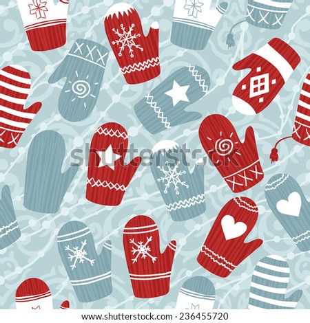 Seamless Christmas pattern with mittens - stock vector