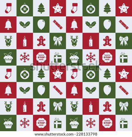 seamless christmas pattern with ornaments in red, green and white - stock vector