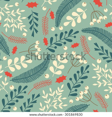 Seamless Christmas pattern with pine, berries, leaves